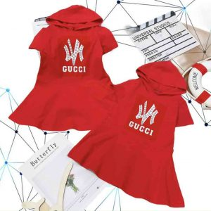 Đầm thun bé gái nón Gucci