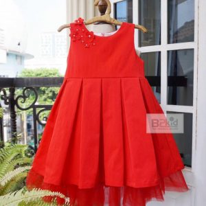 Đầm công chúa đính hoa đỏ