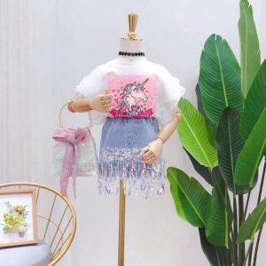 Bộ Váy Jean Kim Sa Pony